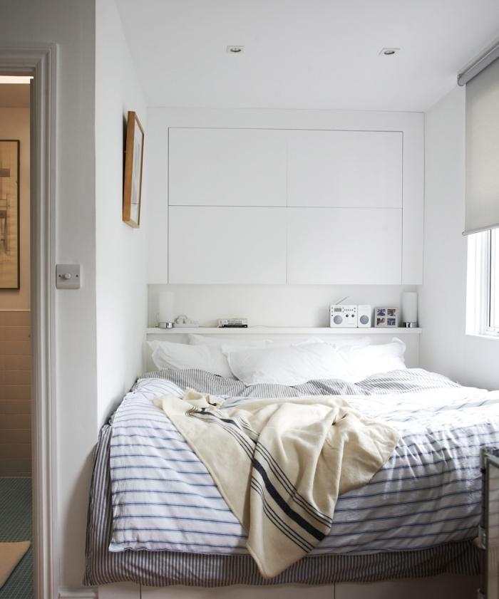 نموذج استغلال مثالي لمساحة غرفة النوم الضيقة وإضافة خزائن فوق السرير