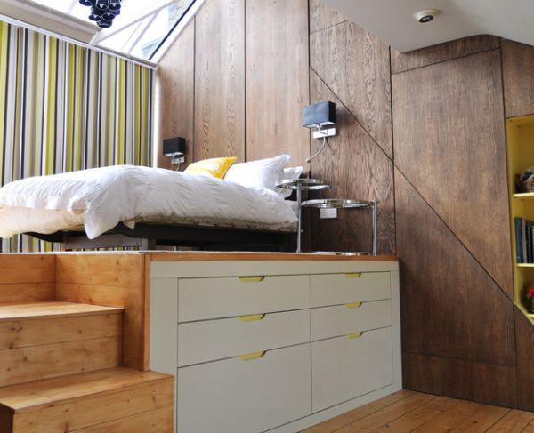 سرير مرتفع عن الأرض لعمل خزائن