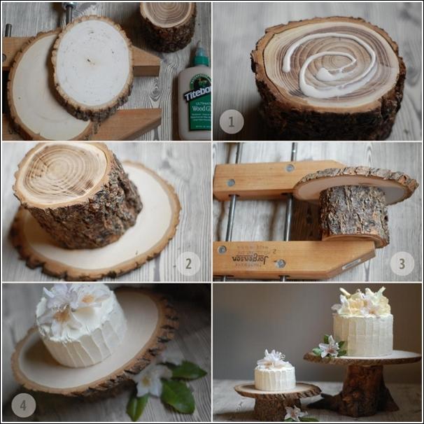 تصميم خشبي من جذوع الاشجار لحامل الكيك..