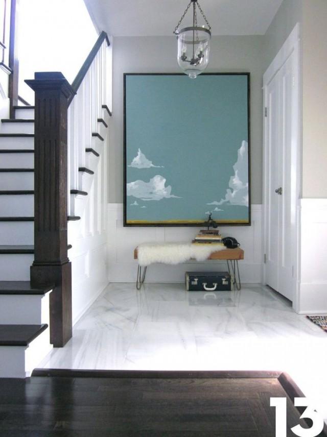 استخدام لوحة فنية عملاقة ضمن ديكور الغرفة