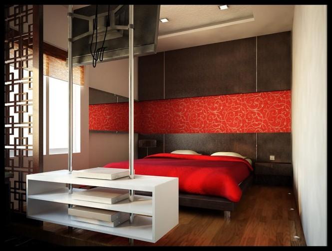 غرف نوم حمراء