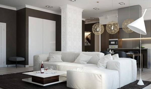 ديكور غرف معيشة بيضاء