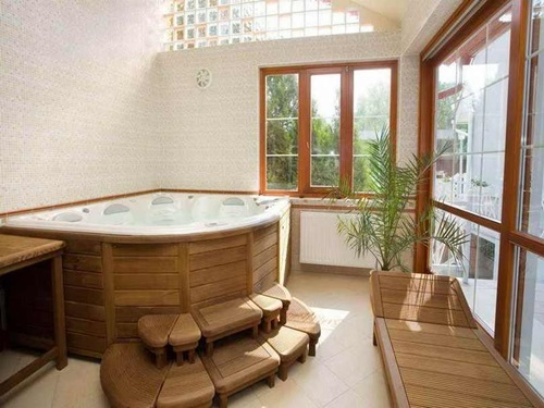 تصاميم خشبية للحمامات