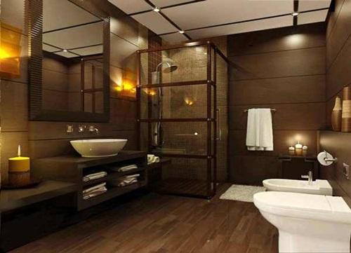 ديكور حمام باللون الخضبي الداكن بمساحة كبيرة