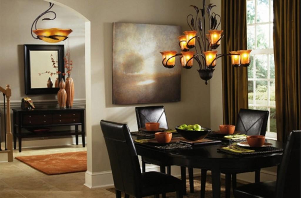 التصميم الداخلي لإضاءة غرفة الطعام