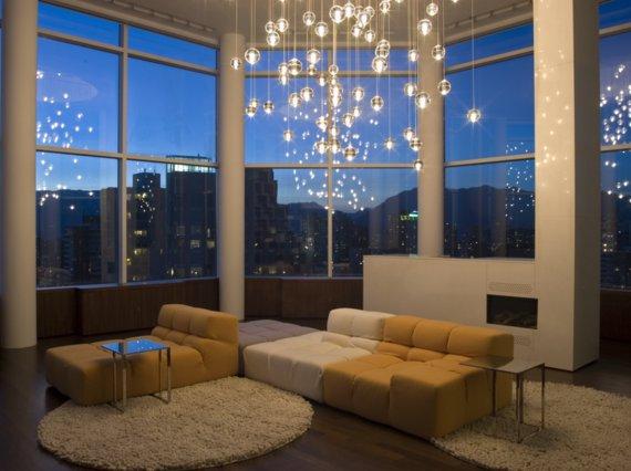 الثريات للإضاءة في غرفة المعيشة