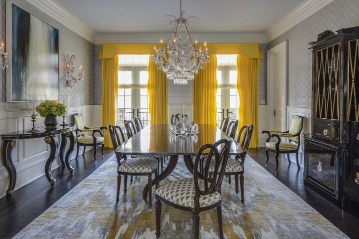 غرف طعام رمادي واصفر