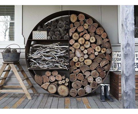 التخزين الخارجي لحطب المدفأة