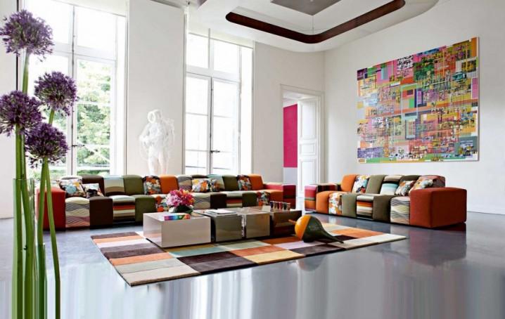 احدث تصاميم السجاد الملون لغرف الجلوس