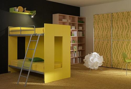 افكار لغرف نوم الاطفال باللون الاصفر طابقين