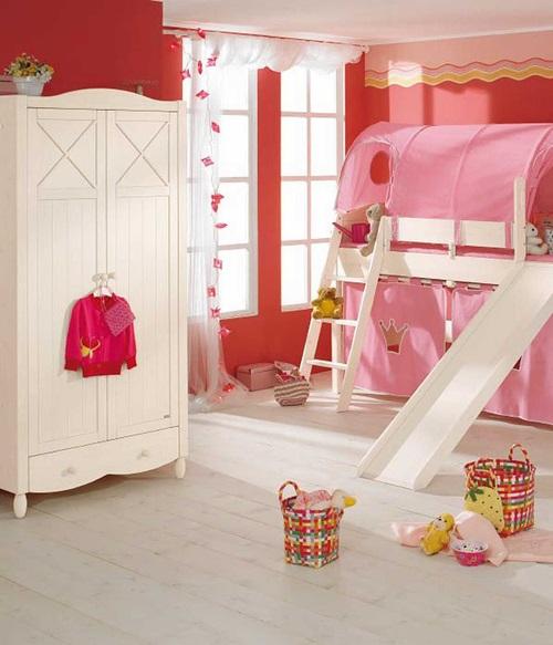 افكار لغرف نوم الاطفال طابقين باللون الزهري