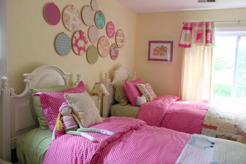 افكار لغرف نوم الاطفال مزدوجة باللون الزهري