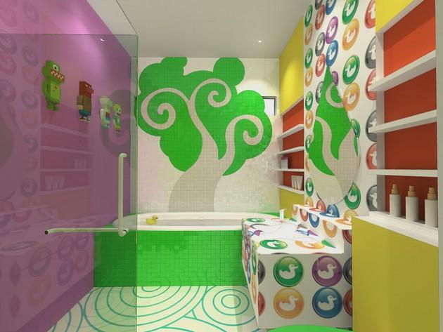 رسومات جدران حمامات الاطفال