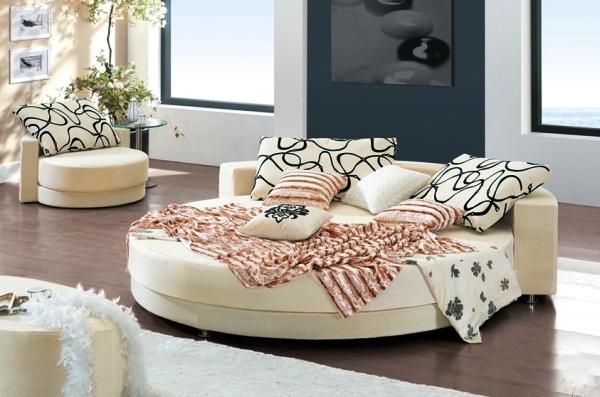 غرف نوم مودرن سرير دائري أنيق