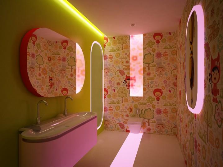 ورق الجدران في حمامات الاطفال