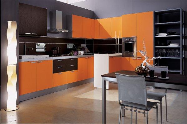 اجمل ديكور رمادي وبرتقالي للمطابخ
