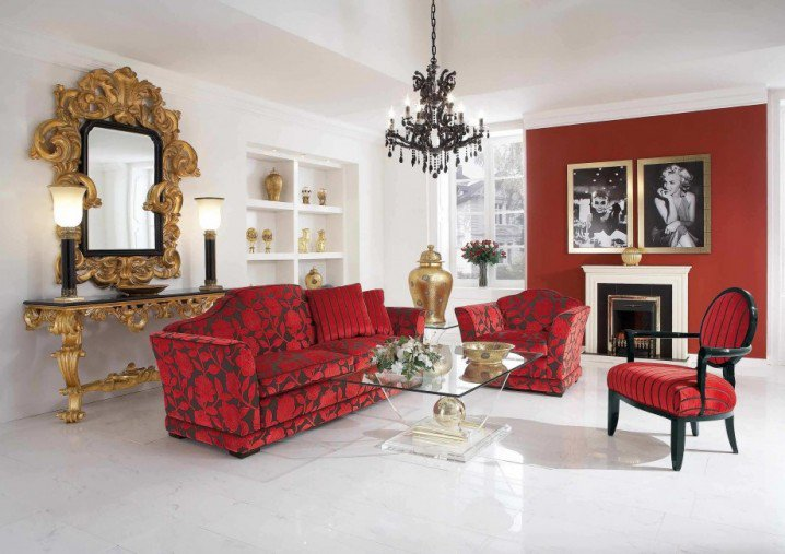 غرف جلوس حمراء نسائيه