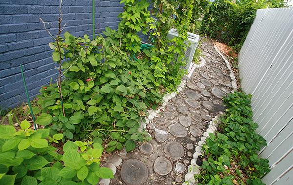 أفكار ممرات حدائق بشكل حلقات دائرية من جذوع الاشجار