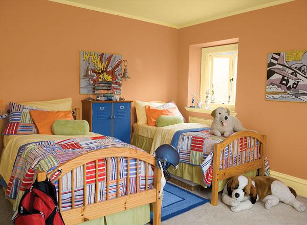 احدث الوان الدهانات لغرف الاطفال باللون البرتقالي