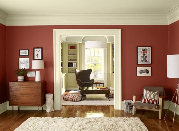 احدث الوان الدهانات لغرف المعيشة باللون الأحمر
