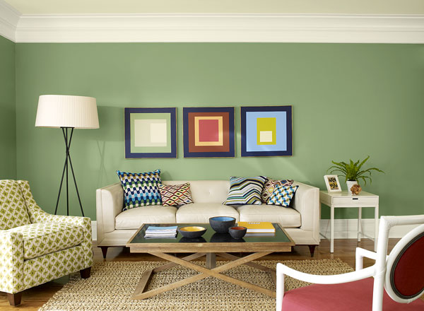 احدث الوان الدهانات لغرف المعيشة باللون الأخضر