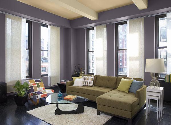 احدث الوان الدهانات لغرف المعيشة باللون الأرجواني