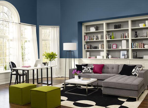 احدث الوان الدهانات لغرف المعيشة باللون الأزرق