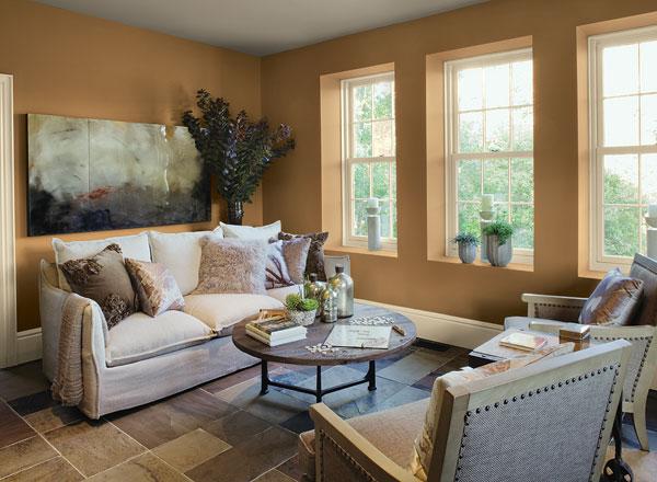 احدث الوان الدهانات لغرف المعيشة باللون البرتقالي
