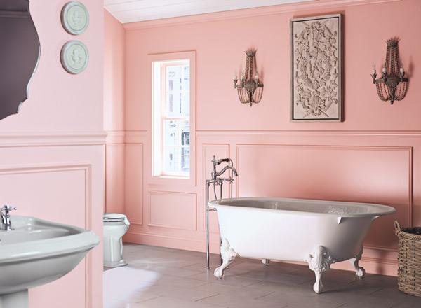 احدث الوان الدهانات للحمامات باللون الوردي