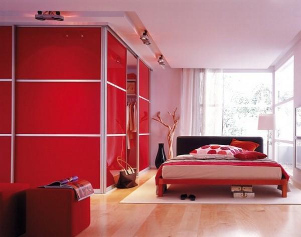 احدث الوان غرف النوم باللون الأحمر