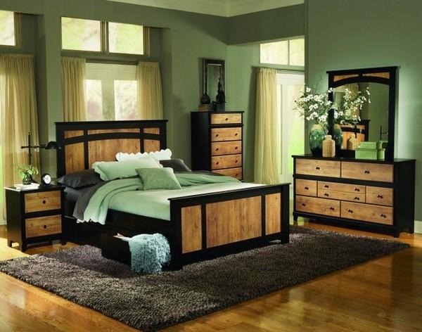 احدث الوان غرف النوم باللون الخشبي والأسود