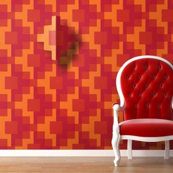 تزيين المنزل باشياء بسيطة جدار رائع بالنمط الهندسي