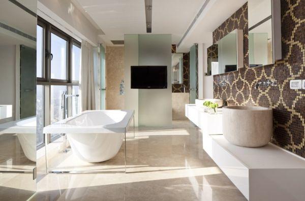 تصاميم حمامات فلل باللون الابيض