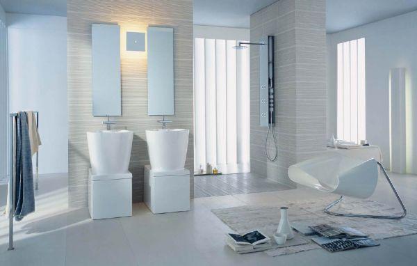 حمامات باللون الابيض مودرن