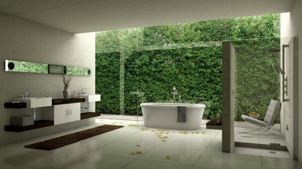حمامات باطلالات طبيعية باللون الابيض