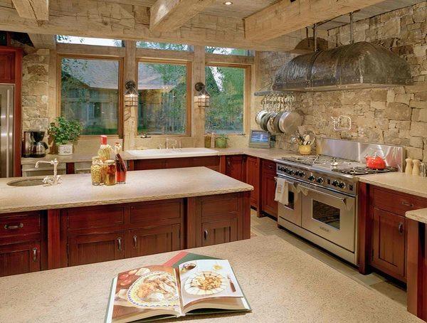 ديكورات حجر للمطبخ