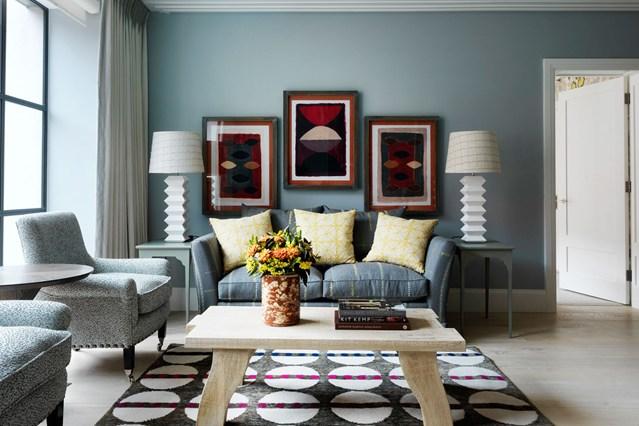 ديكورات صالات جلوس ازرق وسكني