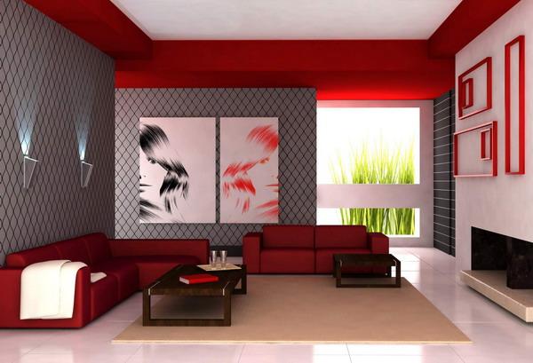 ديكورات صالات جلوس باللون الأحمر