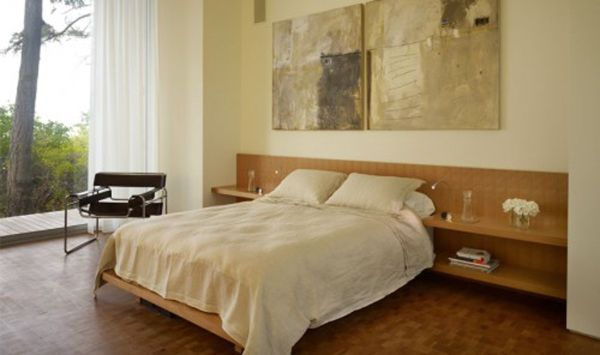 ديكورات غرفة نوم مودرن بلمسات خشبية