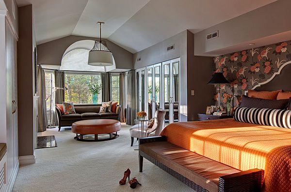 ديكور غرفة نوم باللون البرتقالي