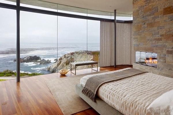 ديكور غرفة نوم مع موقد نار