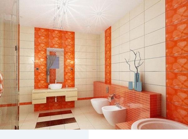 اشكال سيراميك حمامات باللون البرتقالي