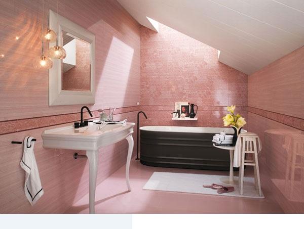 سيراميك حمام باللون الوردي القرنفلي