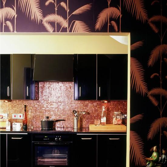 ورق جدران للمطبخ باللون الاسود والبرونزي