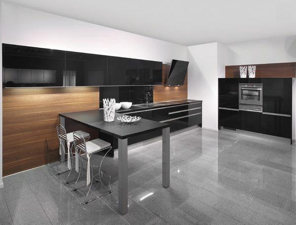 اللون الاسود للمطبخ