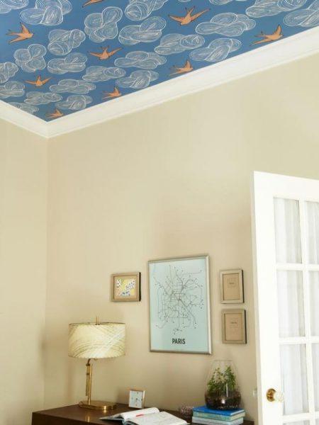 اوراق جدران السقف السماء الزرقاء الجميلة