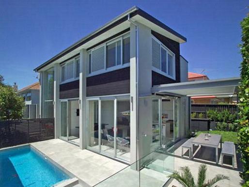 تصميم منازل من الخارج لمنزل الحد الأدنى من الفخامة