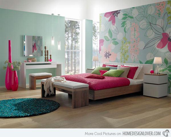 جدران غرف نوم البنات باشكال زاهية