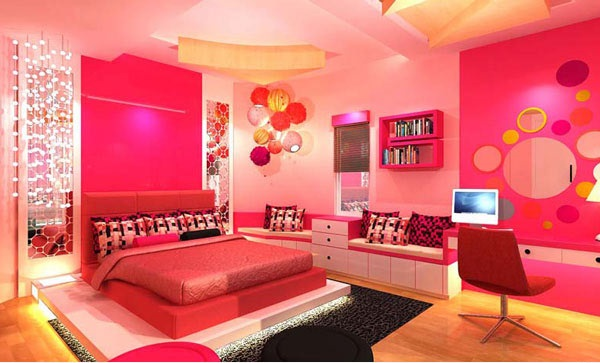 غرف لنوم للبنات باللون الزهري 1