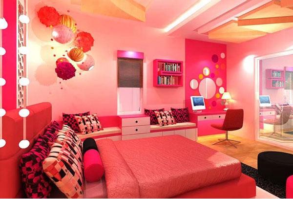 غرف لنوم للبنات باللون الزهري